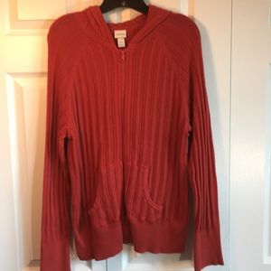 Orange cable knit Cardin long sleeve zip up